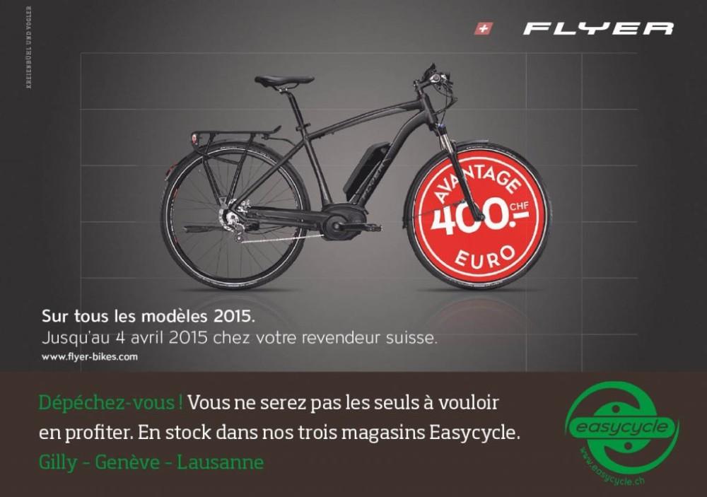 Chf. 400.- d'Euro bonus sur un modèle Flyer jusqu'au 4 avril 2015 !